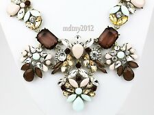 3Vintage Gold Chain Colorized Glass Resin Collar Statement Pendant Bib Necklace