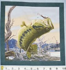 "C Fish Large Bass Salamander Lure Fishing 10"" Quilt Block Square Cotton Fabric"