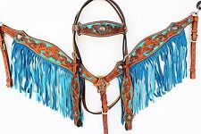 TURQUOISE WESTERN LEATHER HORSE BLING FRINGE BRIDLE HEADSTALL BREASTCOLLAR TACK