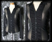Gothic Black Sheer Fitted PERNICIOUS Corset Panel Blouse 8 10 Victorian Vintage