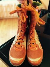 DOLCE AND GABANNA Junior D&G Orange Suede Leather Lace Up Boots 33 Euro