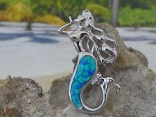 BEAUTIFUL STERLING SILVER BLUE OPAL MERMAID SLIDE PENDANT WITH LONG FLOWING HAIR