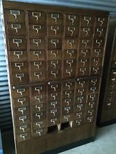 SOLID WOOD ANTIQUE 72 DRAWER LIBRARY CARD CATALOG! GAYLORD BROS! BRASS! WOODEN