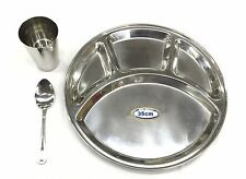 Stainless Steel 4 Compartment 3pc Thali Set Dinner Set Plate Spoon Glass 35cm