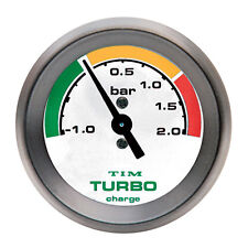 Tim Turbo Boost Gauge White Face Black Bezel 52mm Diam Race Rally -1 To +2 Bar