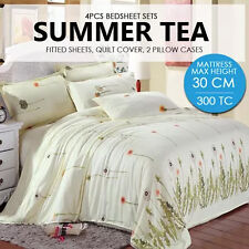 4 PCS King Bedsheet Set - Summer Tea -Max Mattress Height 30CM