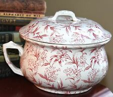 """VINTAGE VICTORIAN CHAMBER POT RED & WHITE FLORAL LID HANDLE ROUND CERAMIC 10"""" W"""