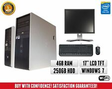 "HP Dual Core Windows 7 Full PC Computer System | 17"" TFT Monitor Screen 