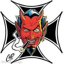 Surf Cross Devil Head STICKER Decal Poster Art Coop CP66 First Printing! Roth