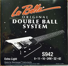 La Bella S942 Dbl Ball-End SS Electric Guitar Strings 9-42 for steinberger