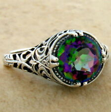 2 CT HYDRO MYSTIC QUARTZ ANTIQUE DESIGN 925 STERLING SILVER RING SIZE 10,  #635