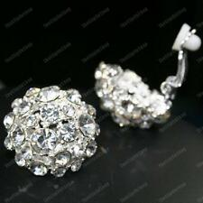 CLIP ON glass rhinestone BIG ROUND CRYSTAL EARRINGS silver plated diamante clips