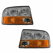 GMC S-15 Truck Headlight Headlamp w/Integrated Fog Light Left & Right Pair Set