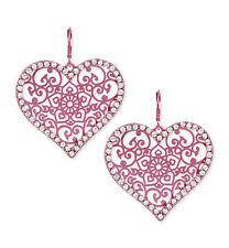 BETSEY JOHNSON Pink Metal Filigree Heart Statement Drop Earrings