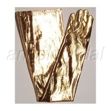 "23"" SHINY LAME GOLD LONG NYLON BRIDAL WEDDING PROM PARTY COSTUME OPERA GLOVES"