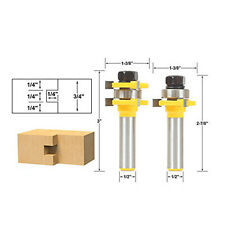 "2Pcs Tongue and Groove Router Bit Set 1/4"" x 1/4"" - 1/2"" Shank"
