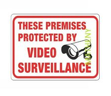 Premises Protected By Video Surveillance Plastic Sign ~ Warning Security Cameras