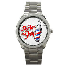 Barber Pole Barber Shop Stainless Steel Analogue Watch