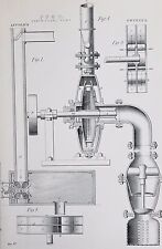 POMPE, Engineering-Antico B / W stampa Lithograph-C19TH ENCICLOPEDIA
