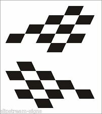 2x Extra Large chequered vinyl stickers graphics decals car racing dirt bike van