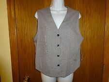 NEW WOMEN'S CROSS COUNTRY FASHIONS GRAY VEST SIZE LARGE XL STRIPED
