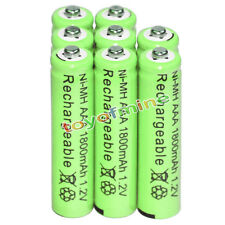 8x AAA battery batteries Bulk Nickel Hydride Rechargeable NI-MH 1800mAh 1.2V Gre