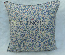 William Morris Fabric Cushion Cover 'Love is Enough' China Blue/Vellum - Cotton