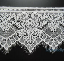 1M White Floral Lace Trim Single Scalloped Edge Eyelash Mesh Ribbon Sewing 19cm