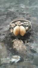 Antique Victorian Rare Silver Elk LRG Tooth Ring Gold Acorns Trophy Taxidermy