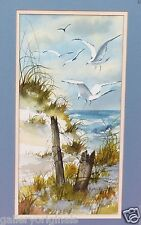 JONES BEACH w/ SEAGULLS BIRDS SEASCAPE WATERCOLOR PAINTING SIGNED EVELYN V SMITH