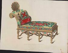 Couch from Penshurst Place, Kent. Henry Shaw 1833 Hand Coloured FD.3