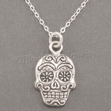 """925 HALLOWEEN SUGAR SKULL Day of the Dead Pendant STERLING SILVER 18"""" Necklace"""