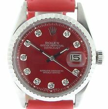 Rolex Datejust Mens Stainless Steel Watch w/ Red Diamond Dial & Strap Band 1603