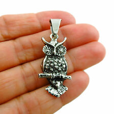 925 Sterling Silver Wise Owl Bird Pendant