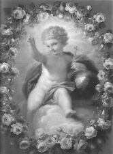 BOY BABY JESUS CHRIST CHILD LORD SAVIOR CROSS ~ 1858 BIBLE Art Print Engraving