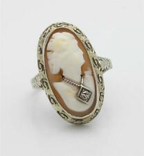 Antique Victorian Cameo Ring with diamond accent! Gorgeous! 14k