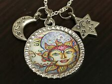 "Celestial Sun Moon Star Antique Look Charm Tibetan Silver 18"" Necklace Mix AB"