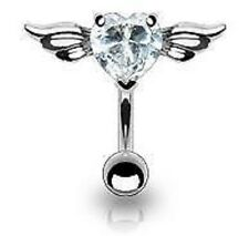 Clear Crystal Reverse Heart Top Down Belly Bar Piercing