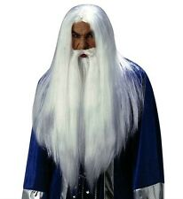 Deluxe White Wizard Wig Gandalf Dumbledore Merlin White/Grey Wig & Beard