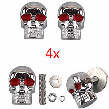 4x Skull Motorcycle License Plate Frame Bolts Tag Fastener Screws Red Eye Chrome