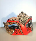 Silver Filigree Eye Mask - Masquerade Ball Costume Party Mardis Gras - Red