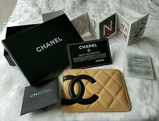New CHANEL Cambon Card Case Holder Beige Tan