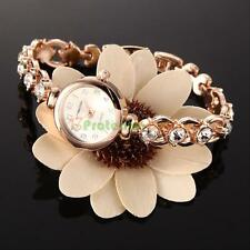 Fashion Women's Rhinestone Bracelet Steel Round Dial Quartz Crystal Wrist Watch