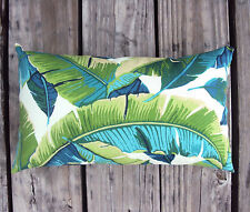 New 15x9 Tropical Palm Leaf Outdoor Lumbar Pillow -Sun & Water Resistant Fabric