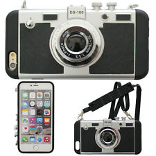 VINTAGE ANALOG CAMERA 3D NOVELTY 2 IN 1 FOR IPHONE 6/6S CASE STRAP #LCC075