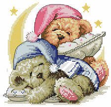 14 count aida needlepoint cross stitch teddy bears kit with colorful chart X054