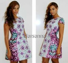 Mary Katrantzou Digital Light Blue Purple Rick Jewel Print Fit/Flare Mini Dress