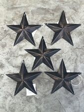 "(Set of 5 ) BLACK BARN STARS 5.5"" PRIMITIVE RUSTIC COUNTRY DISTRESSED"