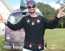 L Large UGLY TACKY VTG Christmas Sweater Party Knit Victoria Jones Mens / Womens