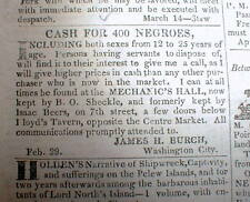 1836 Washington Globe DC newspaper w frnt pg AD -Wanted to buy: 400 NEGRO SLAVES